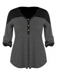 Plus Size Buttons Striped V Neck Top -