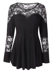 Plus Size Floral Lace Tunic Peplum Tee -