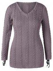 V Neck Plus Size Cable Knit Sweater -
