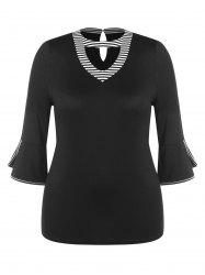 Cutout Neck Plus Size Belled Cuff Tee -