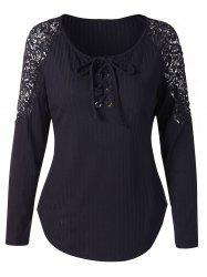 Lace Panel Long Sleeve Knit Tee -