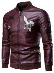 Letter Bird Embroidery Faux Leather Zip Up Jacket -