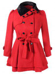 Plus Size Faux Fur Double Breasted Coat -