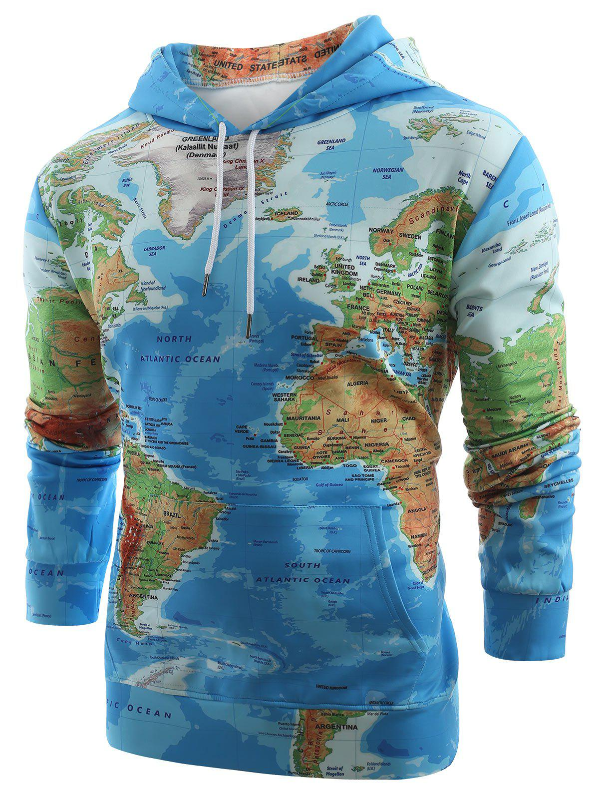 World Map Print Drawstring Hoodie