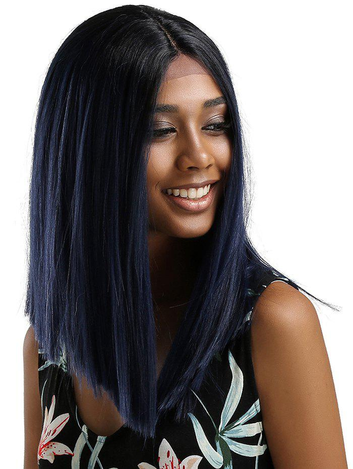 Affordable Medium Center Parting Ombre Straight Lace Front Synthetic Wig