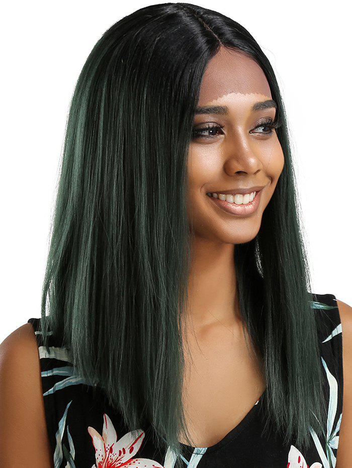 Chic Medium Center Parting Ombre Straight Lace Front Synthetic Wig
