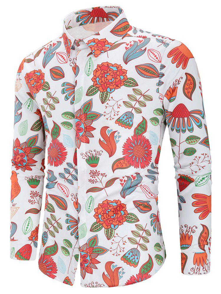 Cheap Plant Print Long Sleeve Shirt