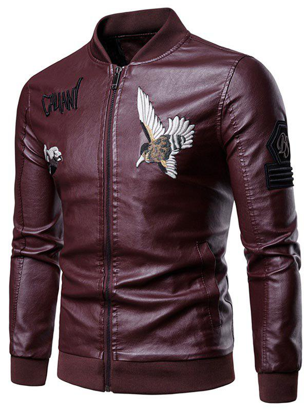 Buy Letter Bird Embroidery Faux Leather Zip Up Jacket