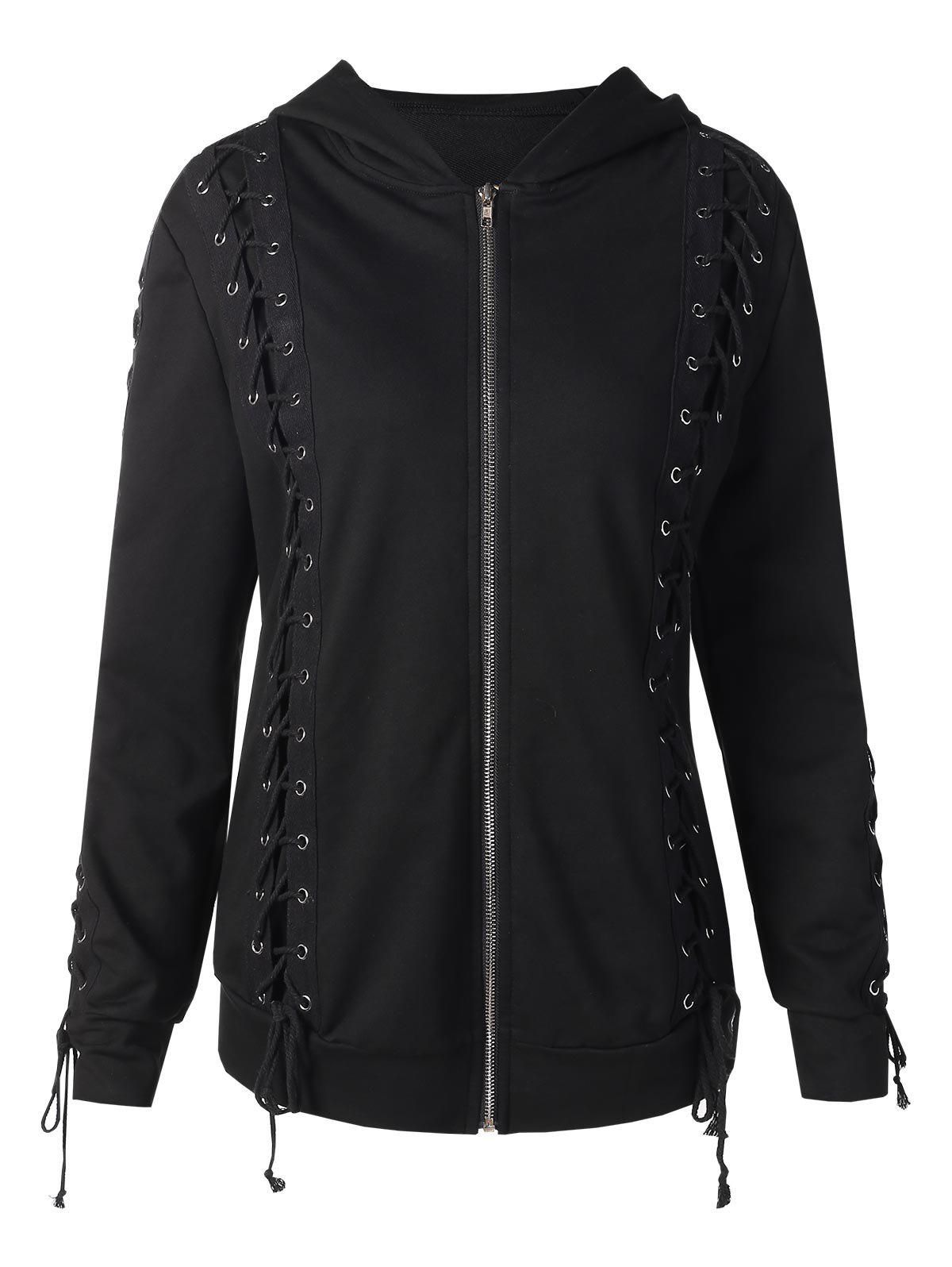 Store Front Zip Lace Up Hoodie