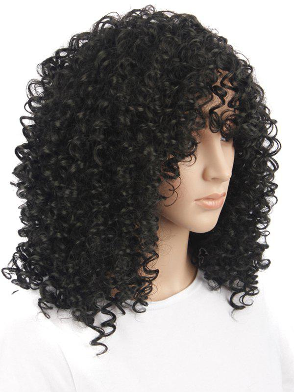 Best Medium See-through Bang Fluffy Afro Kinky Curly Synthetic Wig