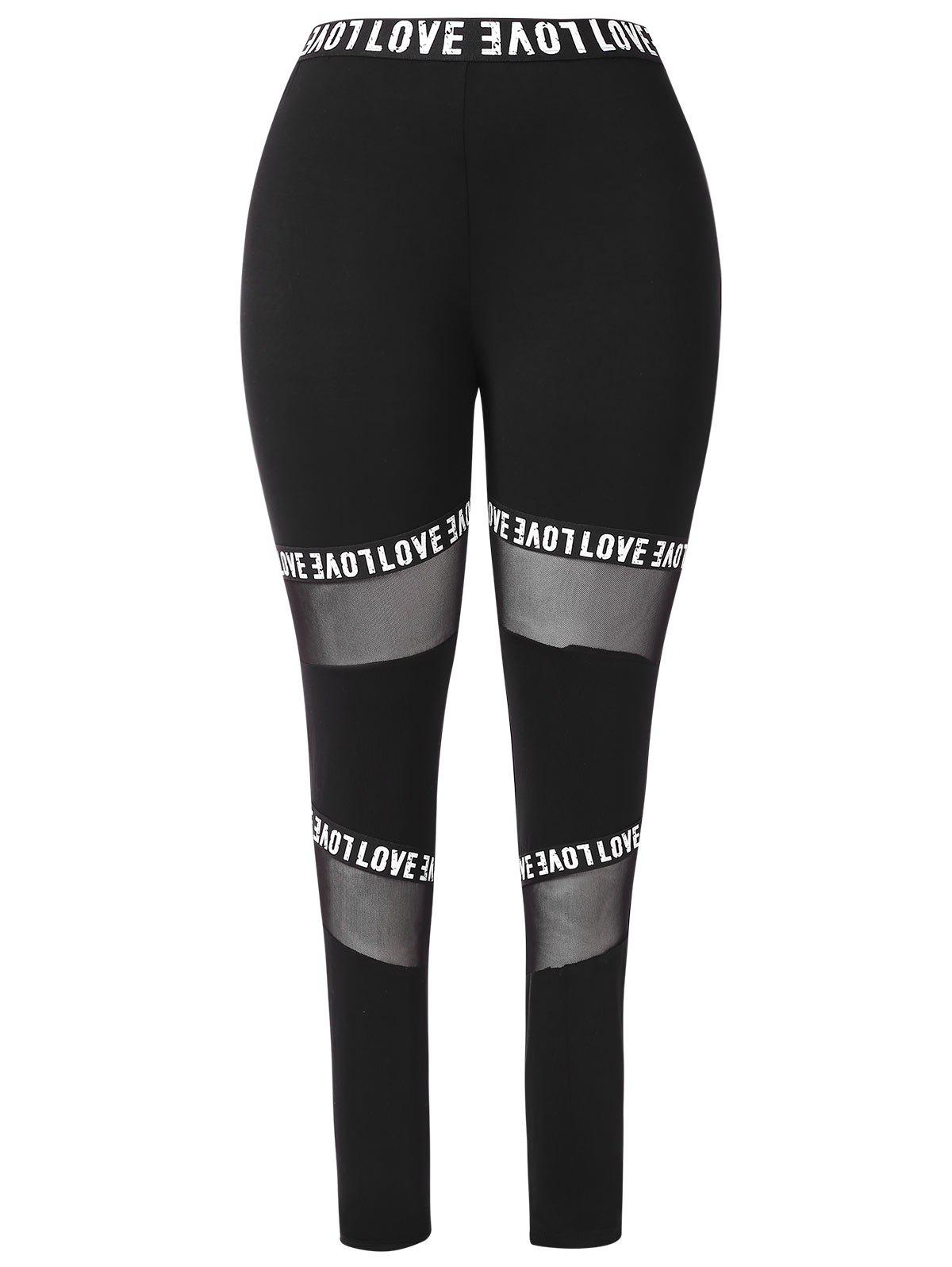 New Letter Graphic Band Mesh Inset Plus Size Leggings