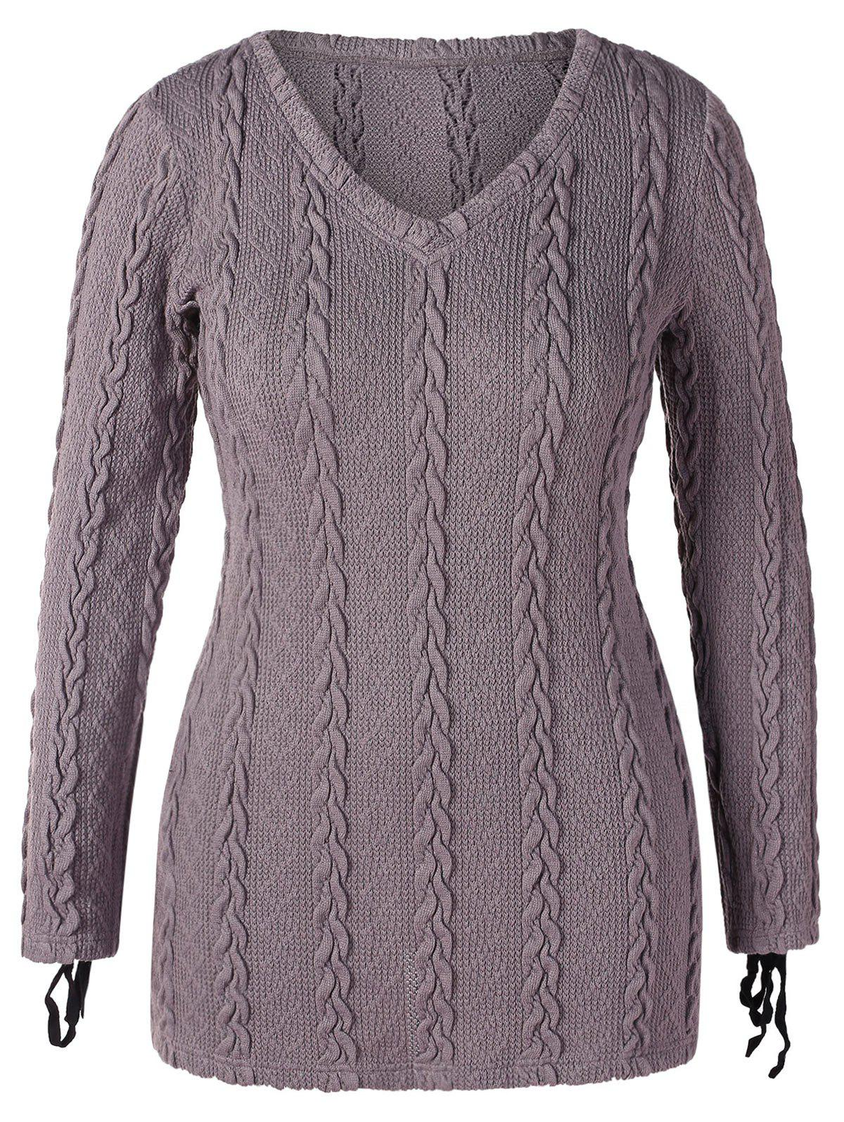 Fashion V Neck Plus Size Cable Knit Sweater