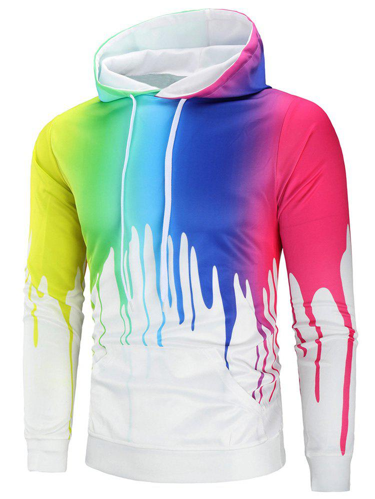 Trendy Colorful Paint Kangaroo Pocket Hoodie