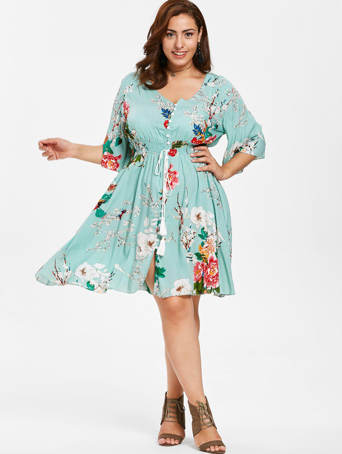 Floral Button Up Plus Size Dress