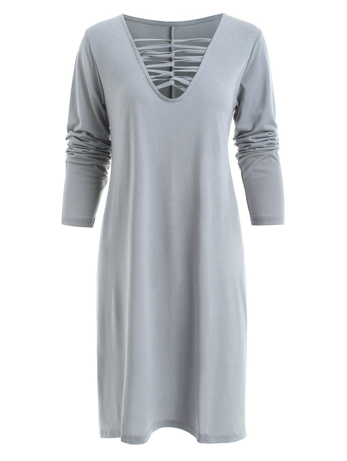 Unique Criss Cross Front Full Sleeve Dress