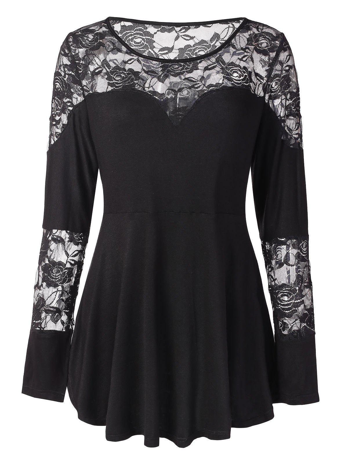 Outfits Plus Size Floral Lace Tunic Peplum Tee