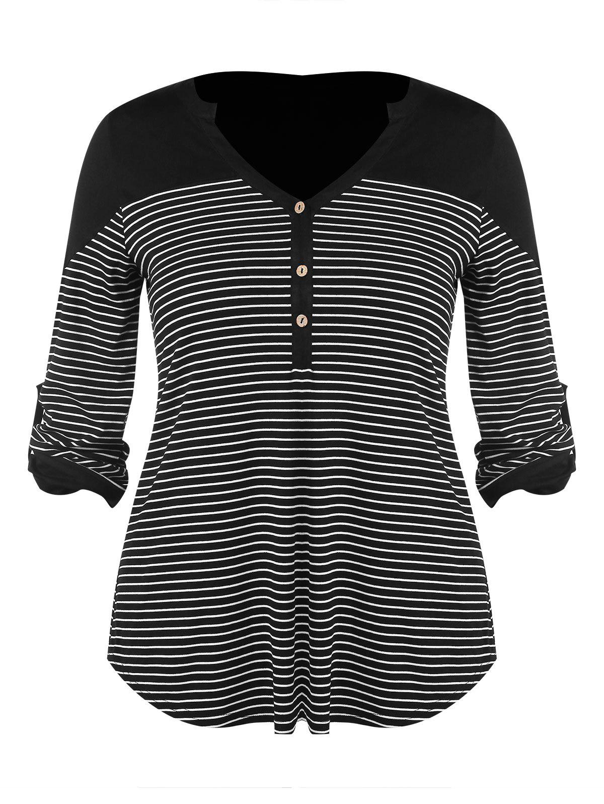 Best Plus Size Buttons Striped V Neck Top