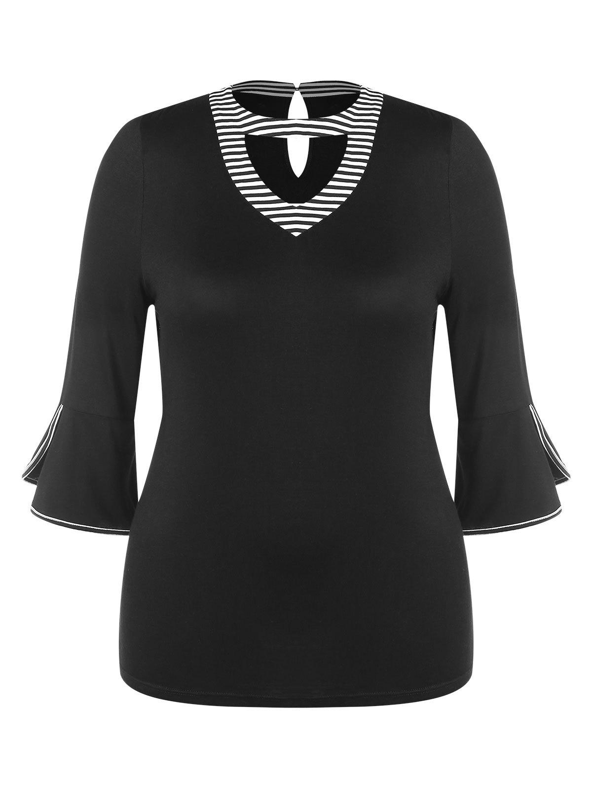 Hot Cutout Neck Plus Size Belled Cuff Tee