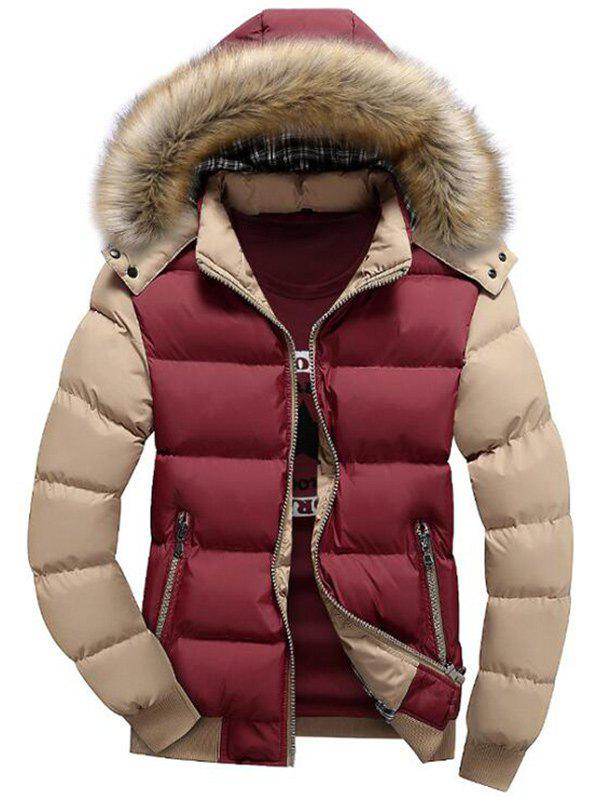 Cheap Hooded Zip Up Padded Parka Coat
