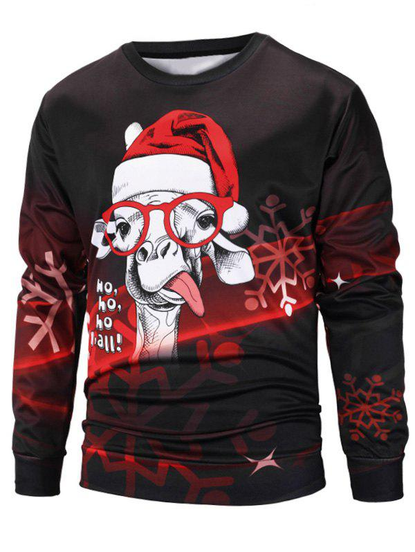 Fashion Sheep Christmas Cap Print Pullover Sweatshirt