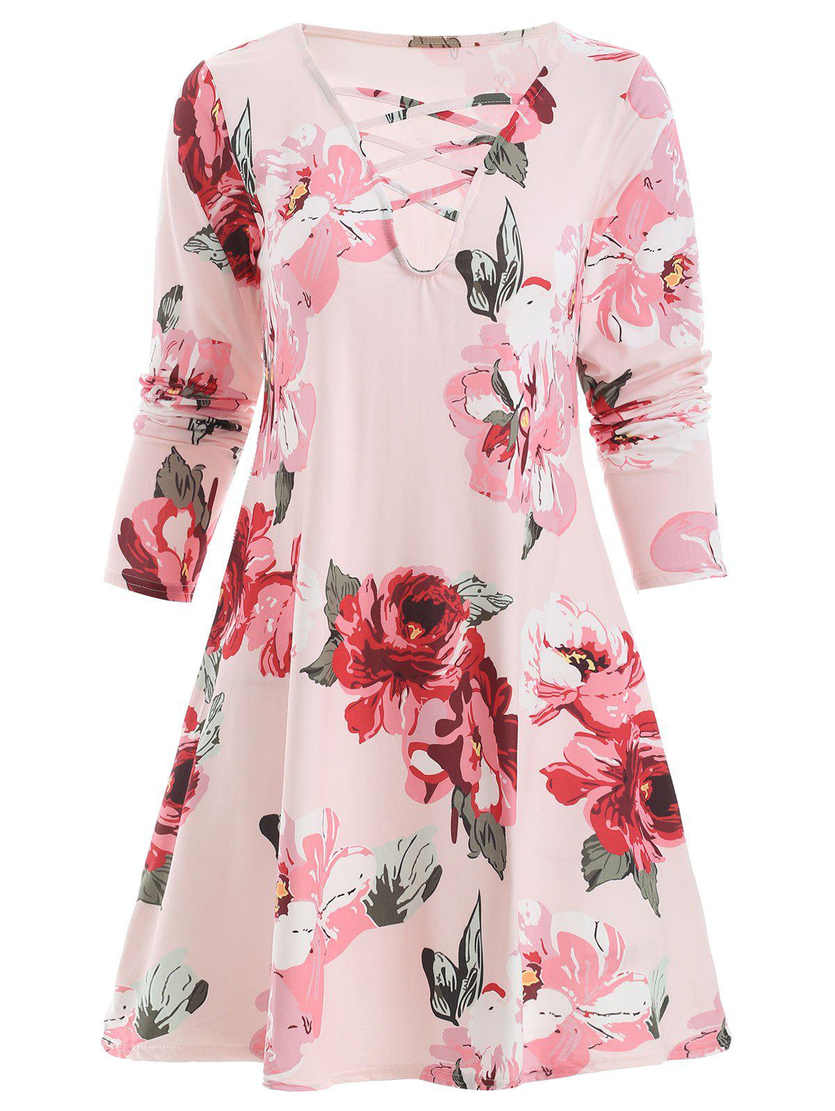 Affordable Floral Print Full Sleeve Lace Up Dress