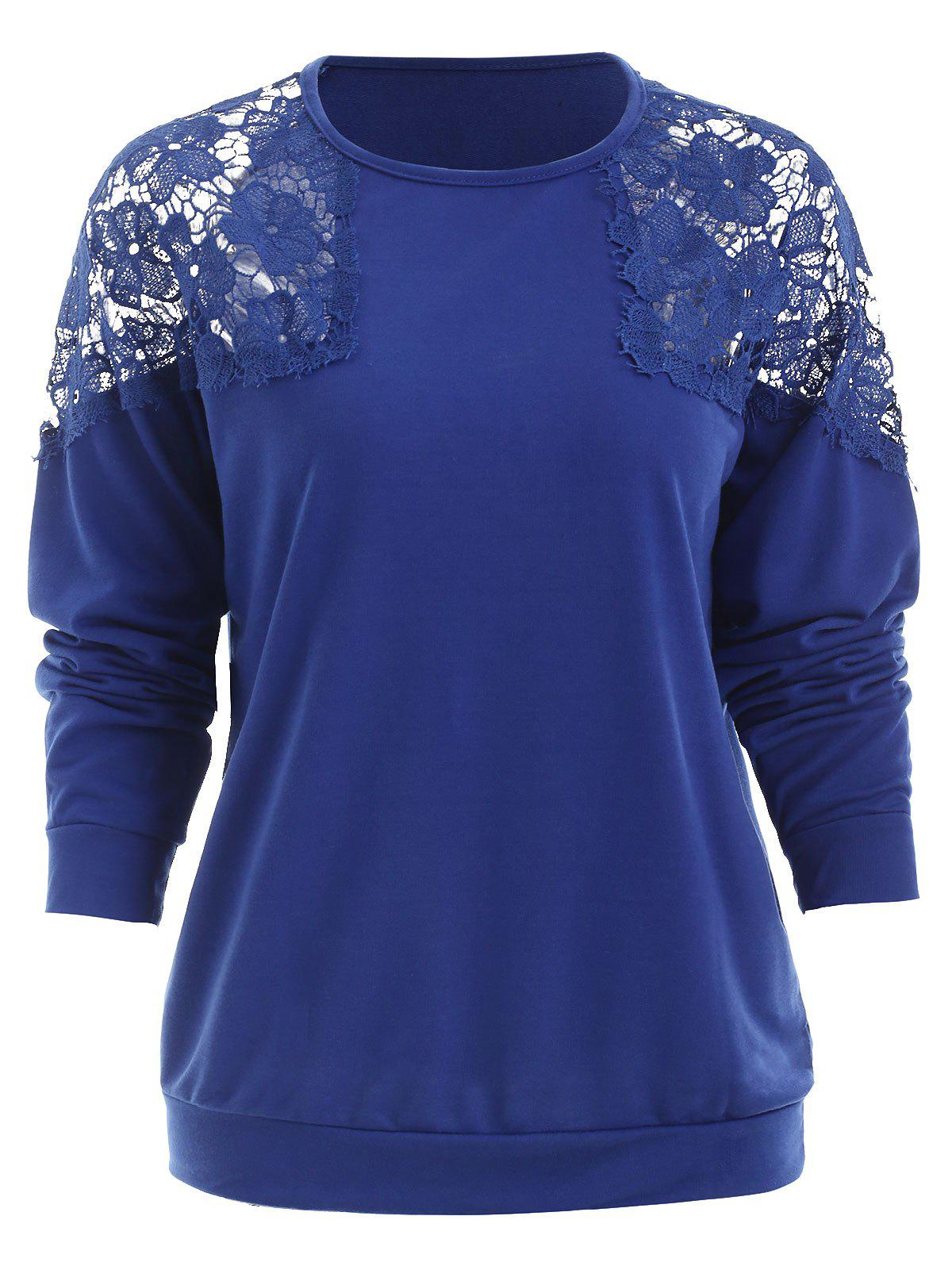 Fancy Hollow Out Lace Panel Sweatshirt