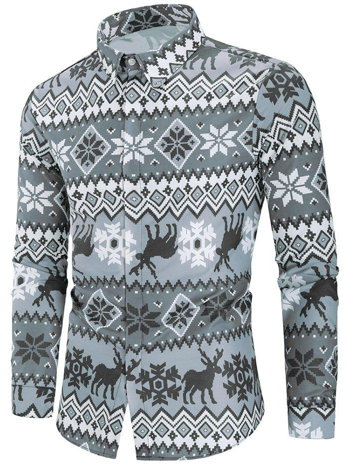 Deer and Snowflake Print Christmas Shirt