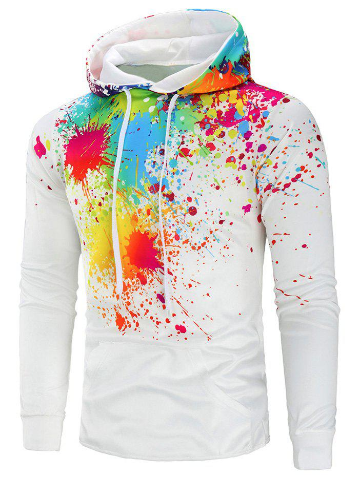Chic Colorful Paint Splatter Drawstring Hoodie