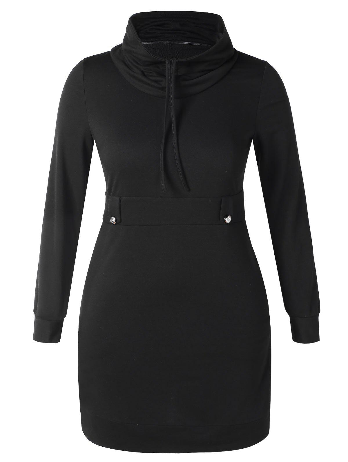 Latest Plus Size Cowl Neck Mini Tight Dress