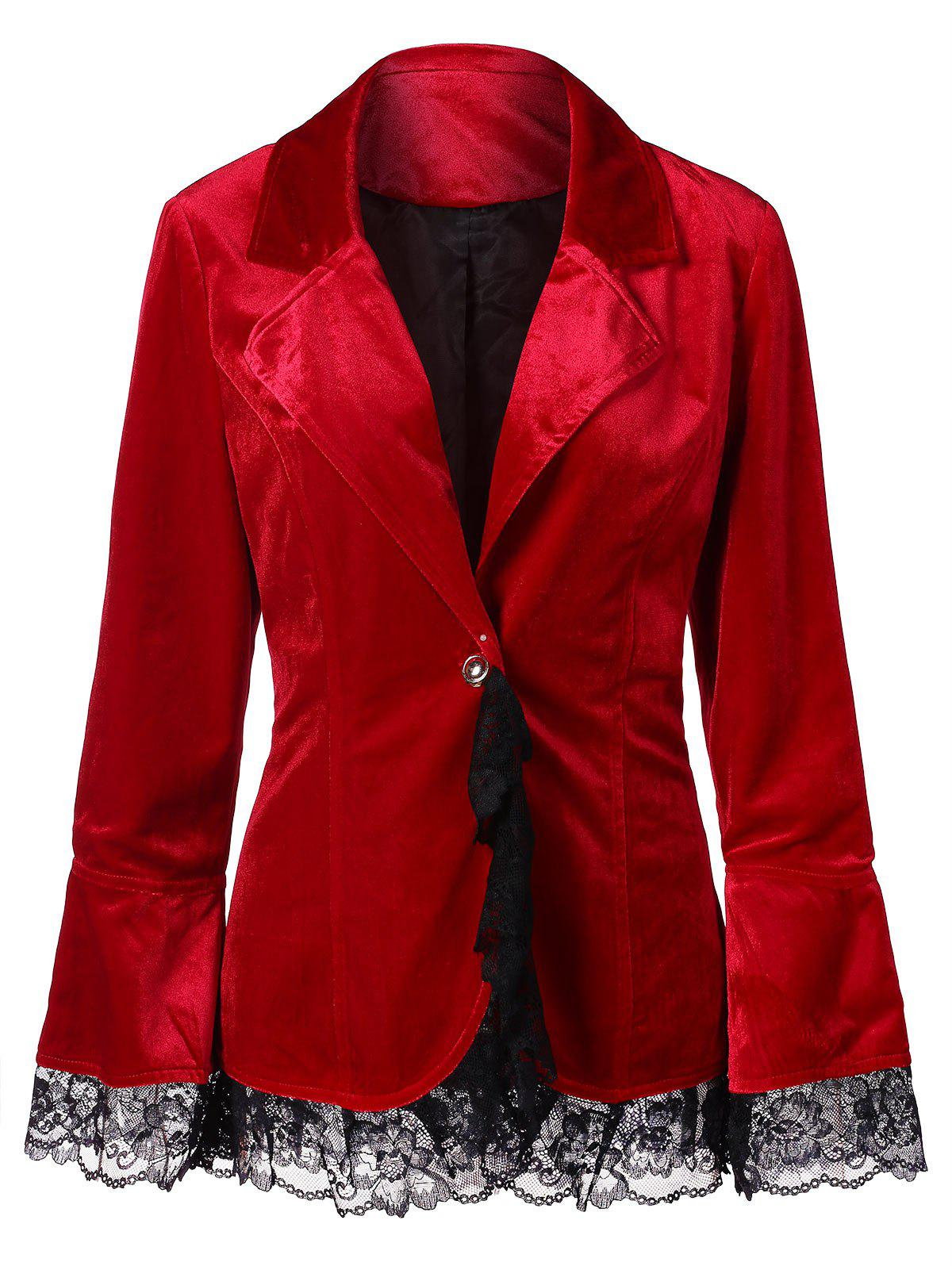 Fashion Velvet Lace Insert Jacket