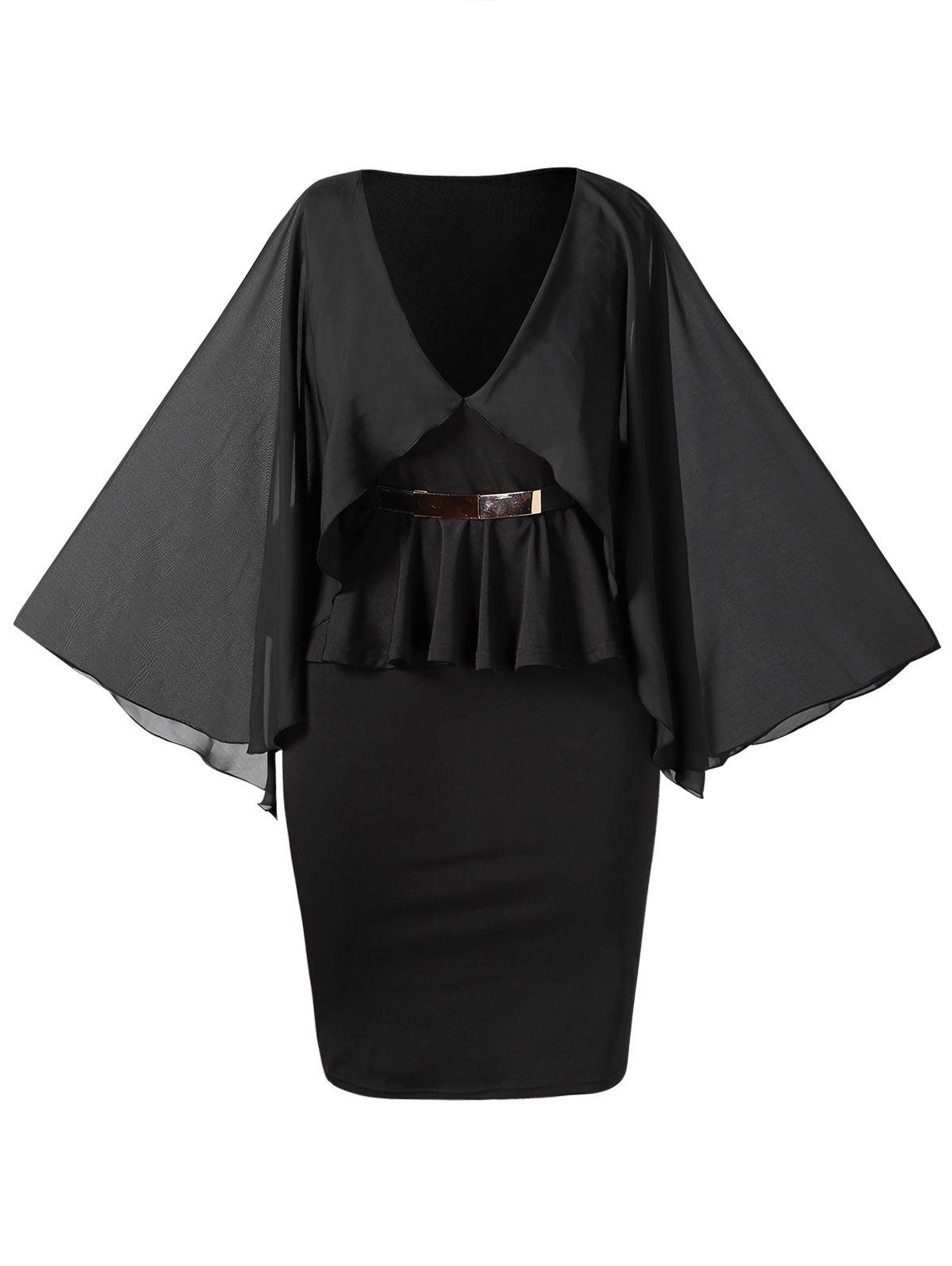 Outfit Plunging Neck Plus Size Cape Peplum Dress
