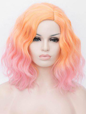 Medium Two Tone Colorful Natural Wavy Cosplay Synthetic Wig