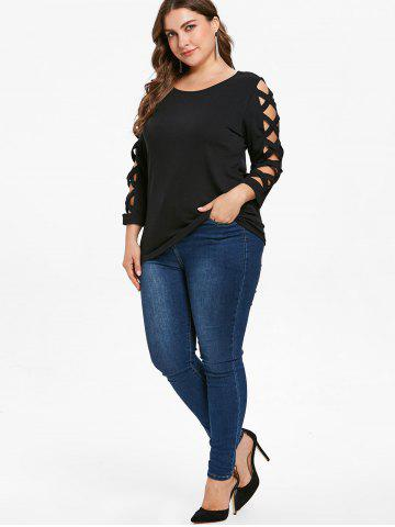 Criss Cross Sleeve Plus Size Scoop Neck T-shirt, Black