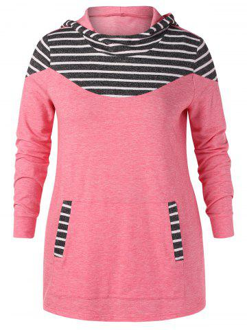 Plus Size Striped Front Pocket Hoodie