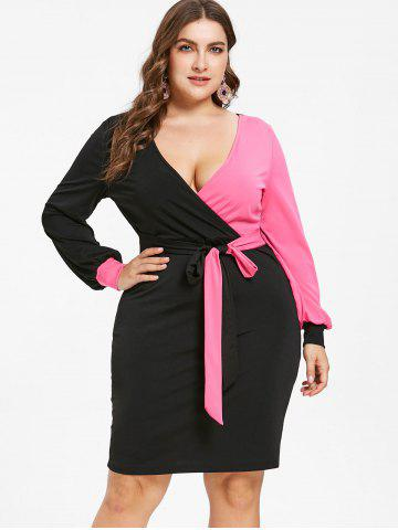 Plus Size Color Block Bodycon Dress, Rose red