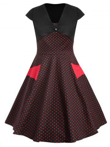 Plus Size Polka Dot Flared Dress