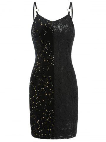 Velvet Star Lace Panel Mini Dress