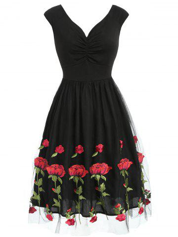 Ruched Floral Embroidered Tulle Skater Dress