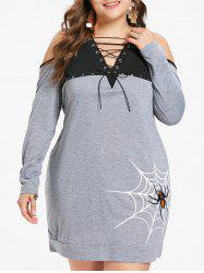 Lace Up Plus Size Spider Web Print Halloween Mini Dress -
