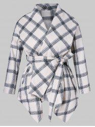 Plus Size Shawl Collar Open Front Plaid Coat -