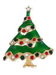 Christmas Tree Colored Rhinestone Brooch -