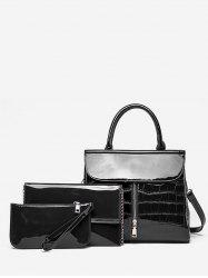 Crocodile Pattern Solid 3 Pieces Tote Bag -
