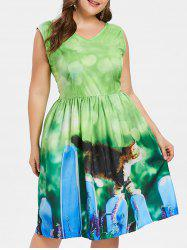 Plus Size Cat Pattern Vintage Dress -