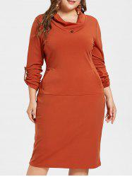 Plus Size Knee Length Bodycon Dress -