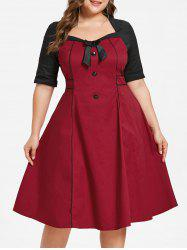 Plus Size Two Tone Flared Dress -