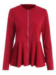 Veste Péplum Zip - Rouge Vineux M