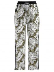 Tropical Print Side Slit Pants -