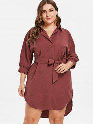 Plus Size Knee Length Belted Dress -