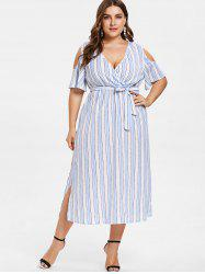 Plus Size Slit Striped Cold Shoulder Dress -