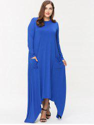 Front Pockets Plus Size Asymmetrical Maxi Dress -